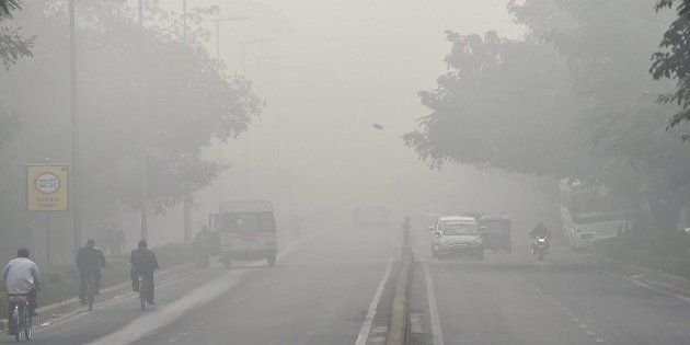 File photo of accumulated smog on a Delhi