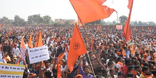 Supporters of VHP and other Hindu organisations attend Dharma
