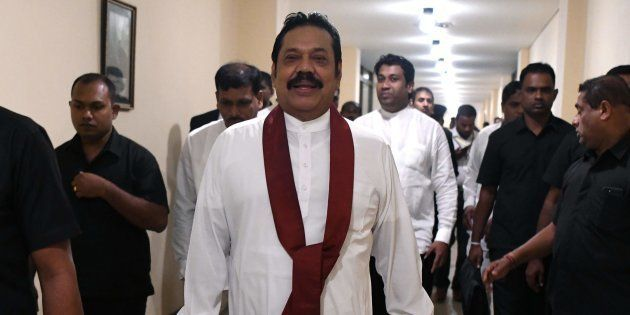 Sri Lanka's former president and currently appointed prime minister Mahinda