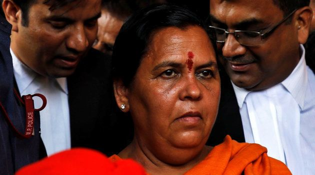India's Water Resources minister Uma Bharti, one of the accused who is charged over the 1992 Babri mosque...