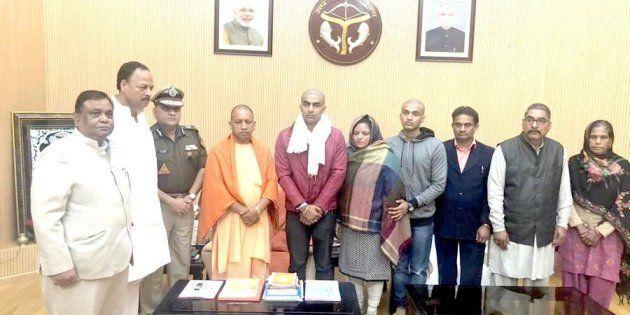 Yogi Adityanath with Inspector Subodh Singh's