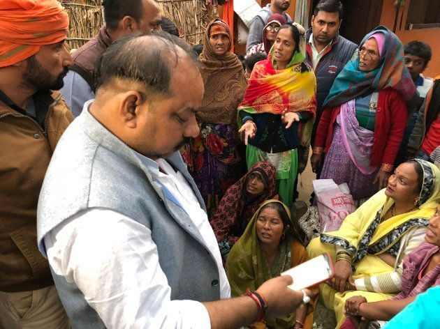 Bajrang Dal leader Balraj Dongar at the house of Yogesh Raj on