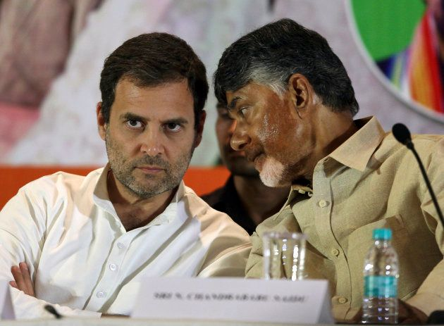 Congress party President Rahul Gandhi and Telugu Desam Party (TDP) President N Chandrababu