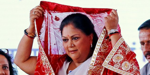 Rajasthan Chief Minister Vasundhara Raje being welcomed during the Chief Minister beneficiaries Mass...