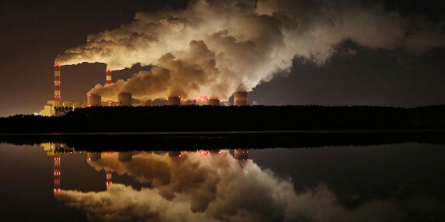 Plumes of smoke rise from Europe's largest lignite power plant in Belchatow, central