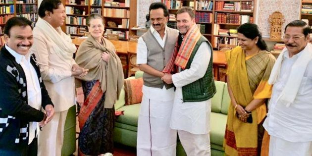 Stalin, Kanimozhi with Sonia Gandhi and Rahul Gandhi in New Delhi on