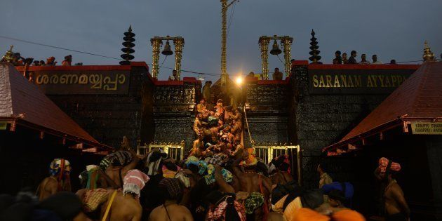Devotees at a temple premises in