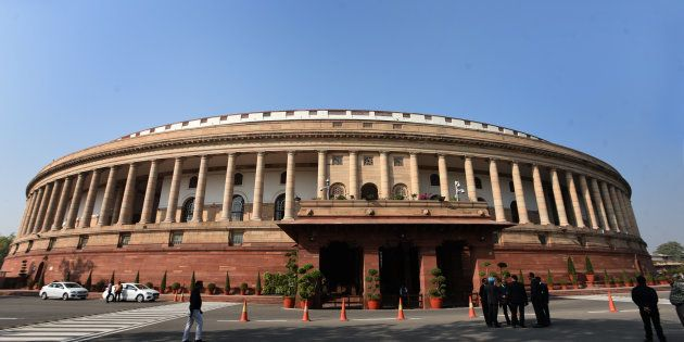 A view of the Parliament House ahead of the winter session that will begin on 11 December.