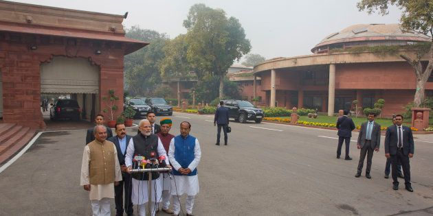 Prime Minister Narendra Modi on the opening day of the winter session of the Parliament in New Delhi,...