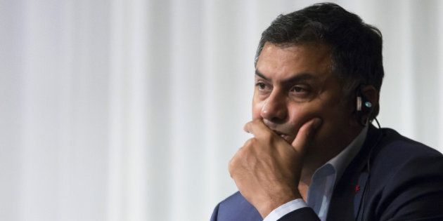 FILE: Nikesh Arora, president and chief operating officer of SoftBank Group Corp., attends a news conference...