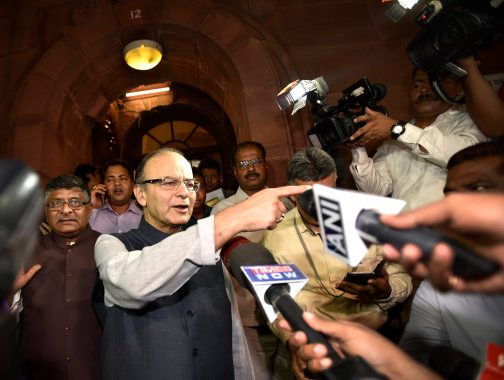 Finance Minister Arun Jaitley coming out after GST bill passed in both the Houses during the Monsoon...