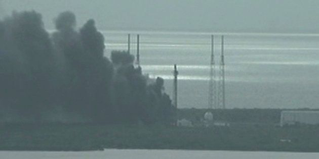 A still image taken from video of smoke rising on the launch site of SpaceX Falcon 9 rocket in Cape Canaveral,...