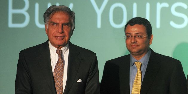 Ratan Tata (L) and former chairman of Tata Sons, Cyrus