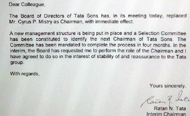 Here's Ratan Tata's Letter To Tata Employees On Cyrus Mistry's