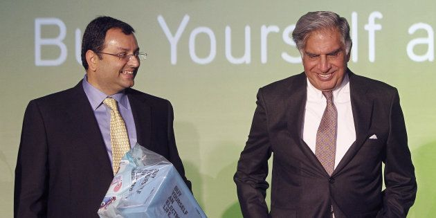 File photo: Tata Group Chairman Ratan Tata and Deputy Chairman Cyrus Mistry attend the launch of a new...