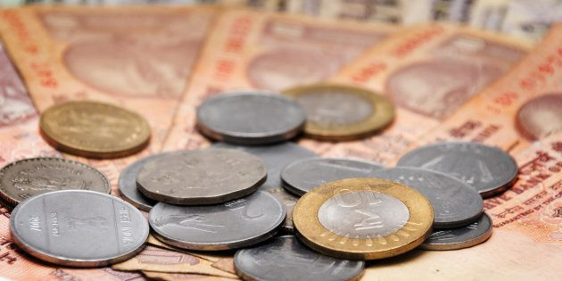 Indian Currency different Rupee bank notes and coins