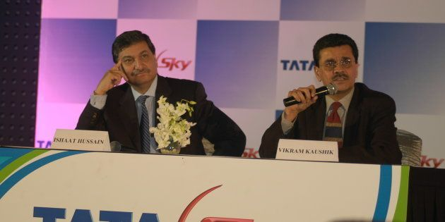Vikram Kaushik, MD and CEO of Tata Sky with Ishaat Hussain, Chairman, at the launch of DTH satellite...