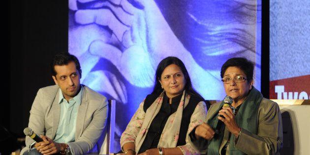(L - R) Former Twitter Head (India) head Rishi Jaitly, Kawaljeet Singh, Kiran Bedi participating in panel...