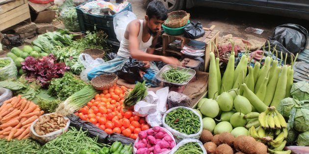 A vegetable seller in Kolkata. (Photo by Debajyoti Chakraborty/NurPhoto via Getty