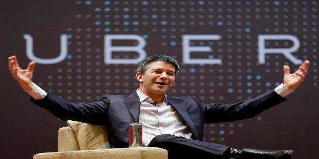 Uber CEO Travis Kalanick speaks to students during an interaction at the Indian Institute of Technology...