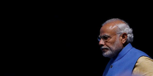 India's Prime Minister Narendra Modi arrives to launch a digital payment app linked with a nationwide...