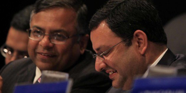 N Chandrasekaran and Cyrus Mistry during the Annual General Meeting of Tata Consultancy