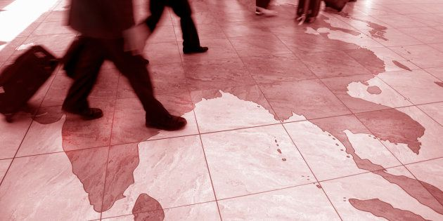 Travelers walking on map of India and southeast