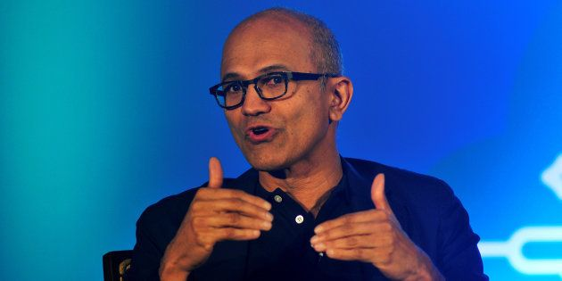 Microsoft Chief Executive Officer Satya Nadella talks during a news conference in Bengaluru, India, February...