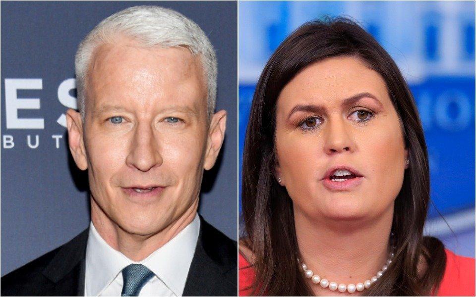 Anderson Cooper and Sarah Huckabee Sanders