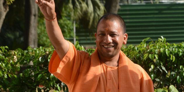 CM of Uttar Pradesh Yogi Adityanath gestures after a meeting with BJPs President Amit Shah in New
