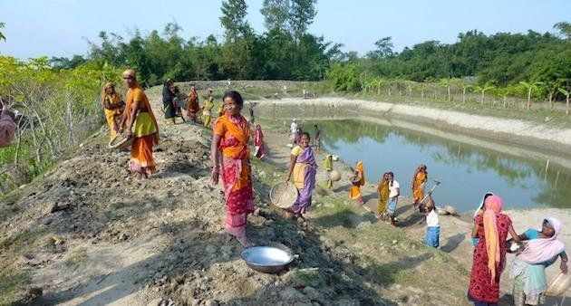 Farm ponds to harvest and store rainwater could be an optimal solution in some places. (Photo by Aftab