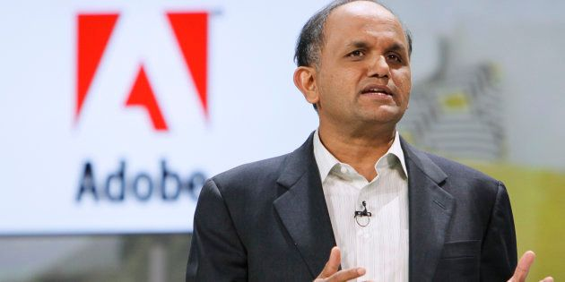 Adobe CEO Shantanu Narayen speaks at the Samsung keynote address on the opening day of the Consumer Electronics...