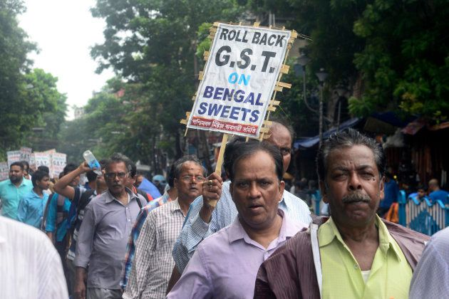 Sweet meat traders of West Bengal organized a rally demanding the removal of Goods Sale Tax (GST) on