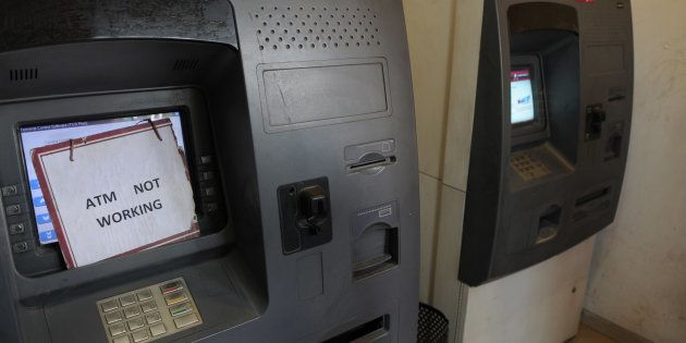GURGAON, INDIA - DECEMBER 29: After the fifty days of demonetization, no cash in Axis Bank ATM machine...