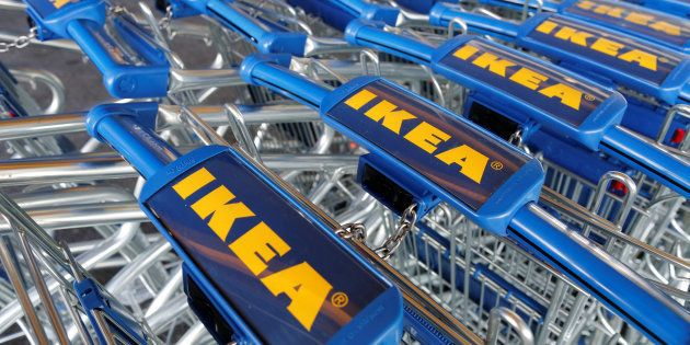 Trollies are seen outside an IKEA Group store in Roissy-en-France, France, February 29, 2016. REUTERS/Jacky...