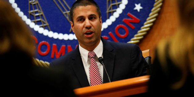 Chairman Ajit Pai speaks ahead of the vote on the repeal of so-called net neutrality rules at the Federal...