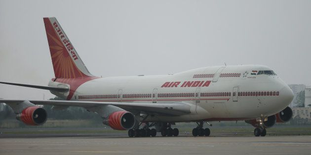 The plane of Air India carrying Indian Prime Minister Narendra Modi arrives at Qingdao Liuting International...