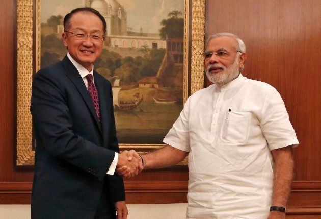 World Bank President Jim Yong Kim, left, with Indian Prime Minister Narendra Modi in New Delhi in July