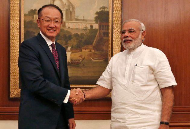 World Bank President Jim Yong Kim, left, with Indian Prime Minister Narendra Modi in New Delhi in July
