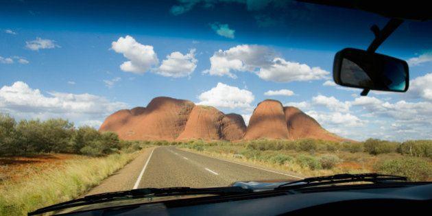 AUSTRALIA - MARCH 04: The Olgas, Kata Tjuta seen from inside a car, Red Centre, Australia. (Photo by...