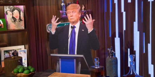 WATCH WHAT HAPPENS LIVE -- Pictured: cardboard Donald Trump -- (Photo by: Charles Sykes/Bravo/NBCU Photo...