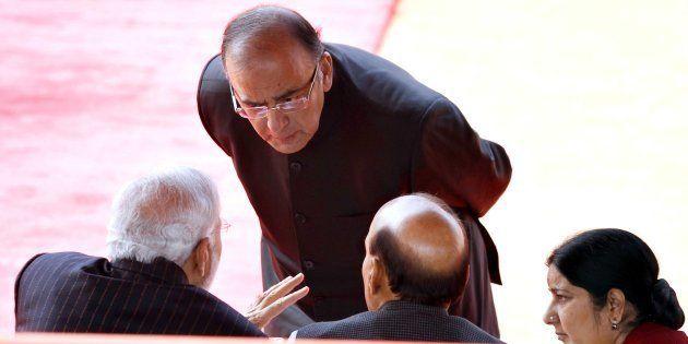 NEW DELHI, INDIA - JANUARY 25: Prime Minister of India Narendra Modi alongwith Indian ministers Arun...