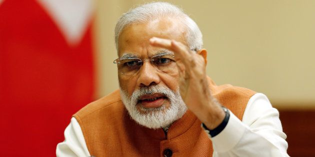 Indian Prime Minister Narendra Modi addresses CEOs of Swiss companies during a conference with Swiss...