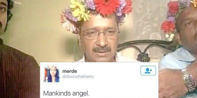 Kejriwal Just Wore A Tiara Made Of Flowers And Internet Is Losing