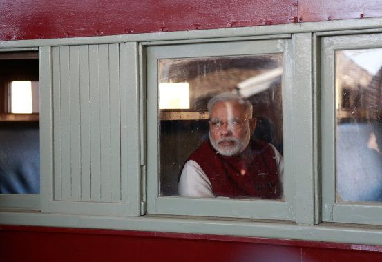 File photo of Indian Prime Minister Narendra Modi arriving by train at the railway station in Pietermaritzburg,...