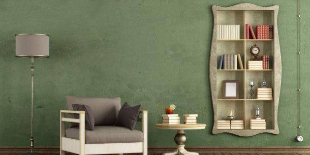Vintage living room with antique bookcase and armchair - rendering