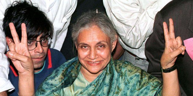 Sheila Dixit, former Delhi Chief Minister, celebrates her election victory in New