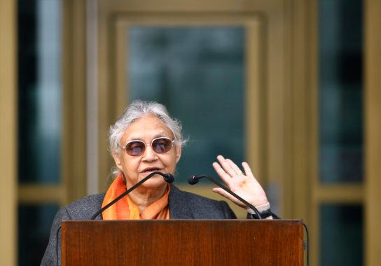 Delhi's former Chief Minister Sheila Dixit speaks during the 50th anniversary celebrations of the United...
