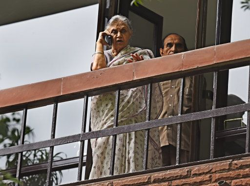 NEW DELHI, INDIA - JULY 14: Former Delhi Chief Minister Sheila Dikshit talking on phone at her residence...