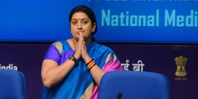 NEW DELHI, INDIA JUNE 03: The Union Minister for Human Resource Development, Smt. Smriti Irani addressing...